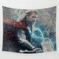 thor Wall Tapestries featuring Thor Mosaic  by Kramcox