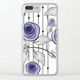 Blue Roses on striped background. Clear iPhone Case