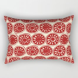 flower block red ivory Rectangular Pillow