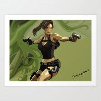 lara croft Art Prints featuring Lara Croft by Fran Agostinelli