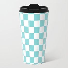 Gingham Pale Turquoise Checked Pattern Travel Mug