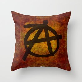 Distressed Anarchy Symbol Throw Pillow