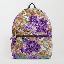 Floral Pattern Purple Flowers Brown Leaves Backpack