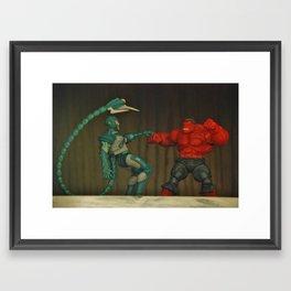 Red Hulk Fight Crime Framed Art Print