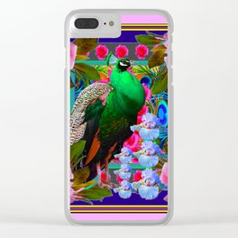 INDIGO PURPLE & PINK ROSES GREEN PEACOCK FLORAL Clear iPhone Case