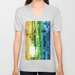 Rainbow Mirrored Disco Ball Pattern Unisex V-Neck