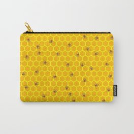 Mind Your Own Beeswax / Bright honeycomb and bee pattern Carry-All Pouch