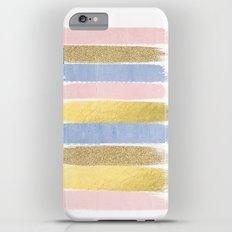 Pantone gold glitter modern minimal brushstrokes abstract art trendy palette girly pastel gifts  Slim Case iPhone 6 Plus