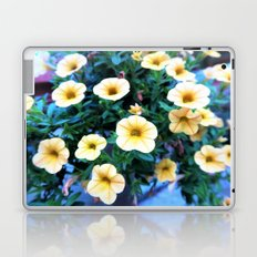 yellow surfinias on soft blue background Laptop & iPad Skin