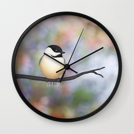 black capped chickadee on a branch Wall Clock