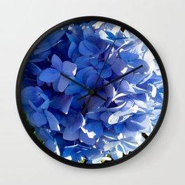 Blue Hydrangia Flower Blossom Wall Clock