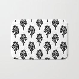 Linocut Protea flower printmaking pattern black and white floral Bath Mat