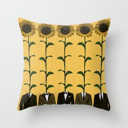 Sunflowers In Suits Print Throw Pillow