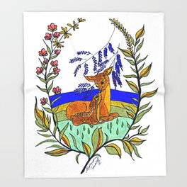Doe And Fawn In Wildflowers Throw Blanket