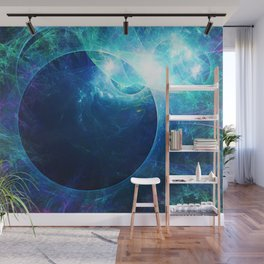 Abstract colorful shiny print graphic with planet space Wall Mural