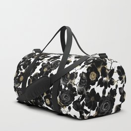 Modern Elegant Black White and Gold Floral Pattern Duffle Bag