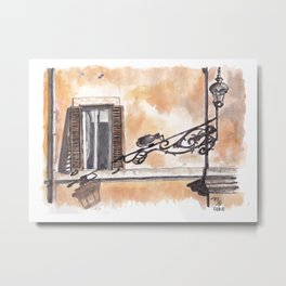 One window and the shadow at Rome, Italy Metal Print