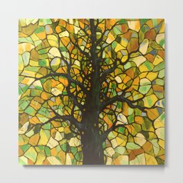 Stained Glass Tree #3 Metal Print