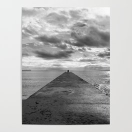 Pyramid at the sea in Cannes Black and white photography Poster