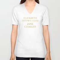 pride and prejudice V-neck T-shirts featuring Characters from Pride & Prejudice by Bookish and Wonderful