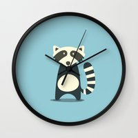 raccoon Wall Clocks featuring RACCOON by Seokhyun Shim