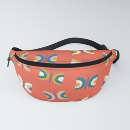 Red Retro Butterflies Fanny Pack