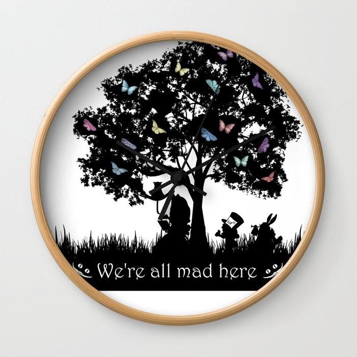 We're All Mad Here III - Alice In Wonderland Silhouette Art Wall Clock
