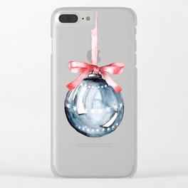 Christmas glass ball, watercolor hand painting. Clear iPhone Case