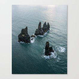 Sea stacks on the Icelandic Coast near Vik - Landscape Photography Canvas Print