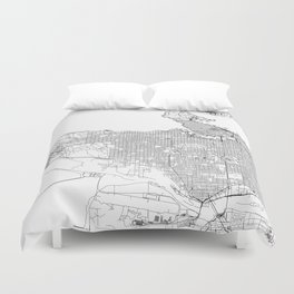 Vancouver White Map Duvet Cover