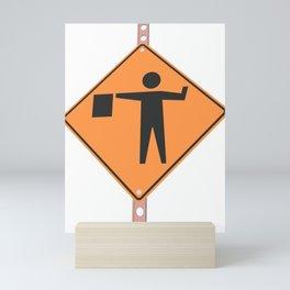 """Flagger"" - 3d illustration of yellow roadsign isolated on white background Mini Art Print"