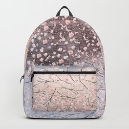 Shiny Spring Flowers - Pink Cherry Blossom Pattern Backpack