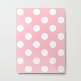 Large Polka Dots - White on Pink Metal Print