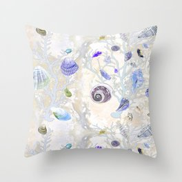 Shells - Yellow Purple Green - Casart Sea Life Treasures Collection Throw Pillow