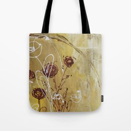Yellow Tan Spring Abstract Flowers. Jodilynpaintings. Abstract Floral Tote Bag