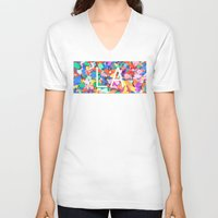 la V-neck T-shirts featuring LA by StuartWallaceArt