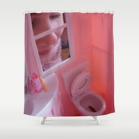 barbie Shower Curtains featuring Barbie Poops by Charley Pallos