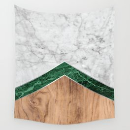 Arrows - White Marble, Green Granite & Wood #941 Wall Tapestry