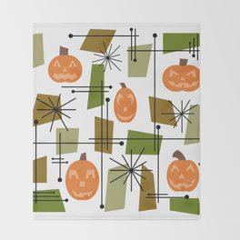 Halloween Mid Century Modern Throw Blanket