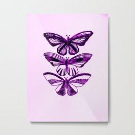 Pink and black butterflies, with pastel pink or pastel purple Metal Print