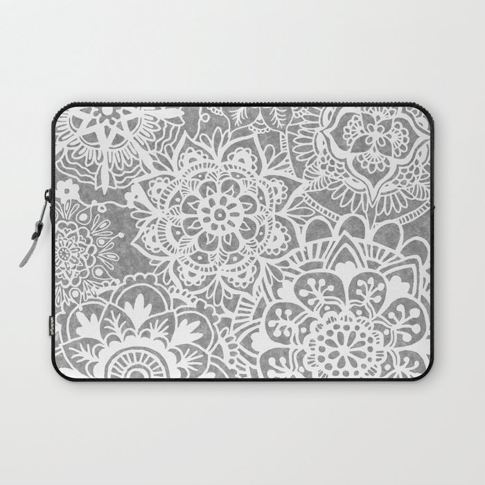 Soft Grey Mandala Pattern Laptop Sleeve