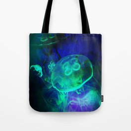 Green Glowing Luminescence of the UFO Jellyfish Tote Bag
