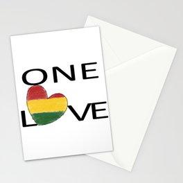 One Love Rasta Rastafari Reggae Heart Stationery Cards