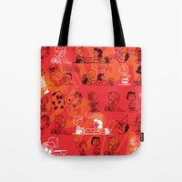 snoopy Tote Bags featuring SNOOPY AAUGH! by d.ts