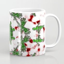 Green Red and Silver Alien Mandala Pattern Coffee Mug
