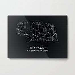 Nebraska State Road Map Metal Print