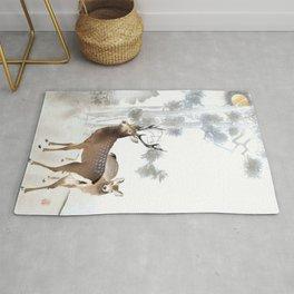 Couple Of Deer Under The Full Moon - Vintage Japanese Woodblock Print Art Rug