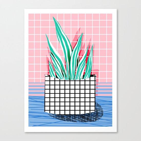 Glam - pop art memphis neon house plants throwback retro 80s style cool brooklyn style minimalism Canvas Print