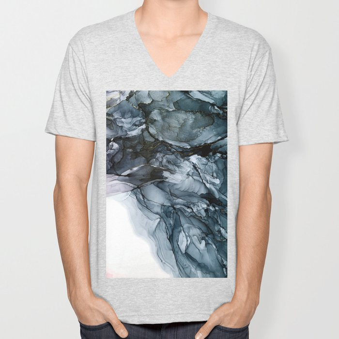 Dark Payne's Grey Flowing Abstract Painting Unisex V-Neck