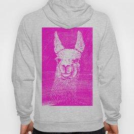 Funny Neon Pink Llama Animal Art Drawing Hoody